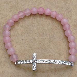Silver Tone Pink Bead Crystal Sideways Cross